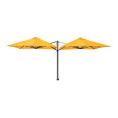 "9'10"" Square Duo Buttercup Umbrella, Ground Anchor and LED Lights"