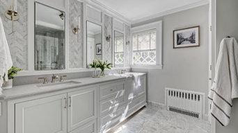 Blissful Master Bathroom in Grays & Whites