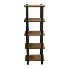 "Pomona 48"" Metal and Solid Wood Bath Floor Storage Shelf"