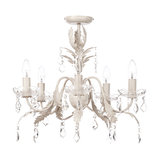 Romeo Vintage Semi Flush Chandelier, Brushed Cream and Gold