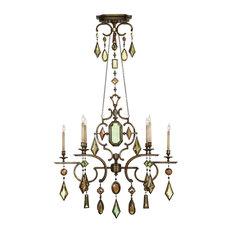 Fine Art Lamps 726040-1ST Encased Gems Gold Multi Color Crystal 6 Light Chandeli