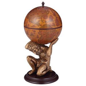 Traditional Globe Drink Cabinet With Wood Frame Mythological Figure Atlas Design