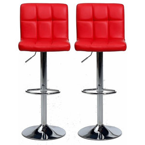 Set of 2 Bar Stools, Faux Leather Back and Footrest, Red