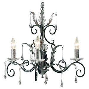 Traditional Black and Silver 3-Arm Chandelier With Clear Glass