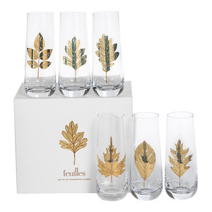 "5.75"" Tall ""Feuilles"" Glass Stemless Flute, Clear and Gold, Set of 6"
