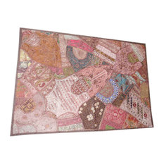 Mogulinterior - Embroidered Tapestry Sequin Embroidery Sari Wall Hangings - Tapestries