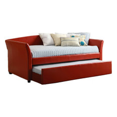Modern Red Twin Size Daybed Twin Trundle With Casters