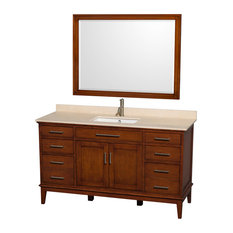 "Hatton 60"" Light Chestnut Single Vanity With Ivory Marble Top and Square Sink"