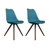 Scandi Style Dining Chair, Pyramid Walnut Legs, Teal, Set of 2
