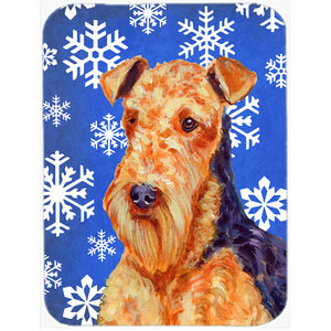 Airedale Terrier In Flowers Glass Cutting Board Large Traditional
