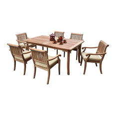 "7-Piece Outdoor Teak Dining Set 60"" Rectangle Table, 6 Arbor Arm Stacking Chairs"