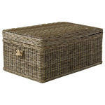 Padma's Plantation - Kubu Coffee Table Trunk - Great for storage in any room, or just as decoration, these  practical chests feature a hardy timber frame, so you can even sit on them.  These coastal inspired chests are made out of our natural kubu weave, which is a soft gray color  achieved naturally by soaking the rattan in local clay and sun-drying it before weaving.