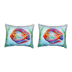 Pair of Betsy Drake Orange Fish No Cord Pillows 16 Inch X 20 Inch