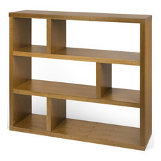 Contemporary Wood Low Book Shelf Display