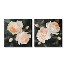 Country Rose Garden Pink Green Nature Flower Painting,2pc, each 17 x 17