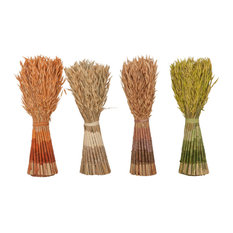 """Set of 4 Natural 17"""" Neck-Tied Standing Bunch of Decorative Foliage"""