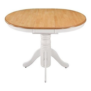 Contemporary Dining Table With Oak Finished Top and Extendable Pedestal Design
