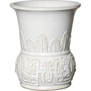 IMPULSE Nordic Vase Medium White by ribbed pattern 3713-1 -Ceramic Vase Matte lacquered finish
