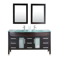 "Cambridge 63"" Wood and Glass Double Sink Vanity Set, Brushed Nickel Faucet"