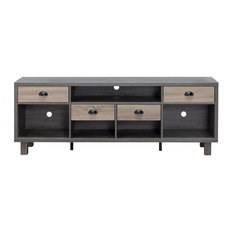Furniture Of America Rubert 70-Inch Wood TV Stand In Distressed Gray And Taupe
