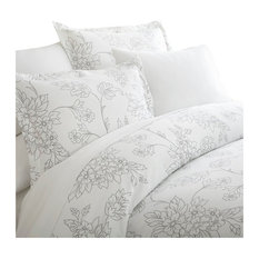 iEnjoy Home - Home Collection Premium 3 Piece Vine Printed Duvet Cover Set, King, Gray - Duvet Covers and Duvet Sets