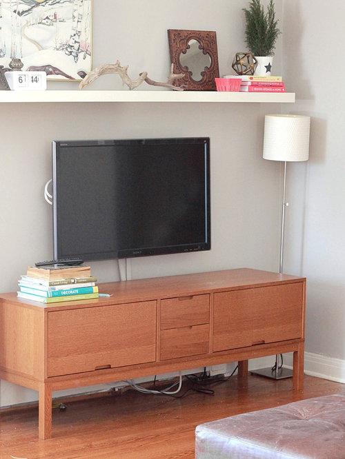 Shelf above tv houzz for Above tv decor