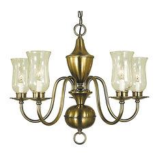 """Framburg 2545 Jamestown 5 Light 25"""" Chandelier, Antique Brass"""