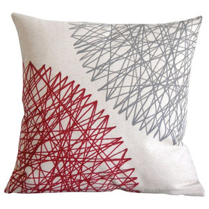 Burgundy and Grey Geometric Cushion, 40x40 Cm