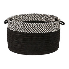 """Houndstooth Dipped Basket, Black, 24""""x14"""""""