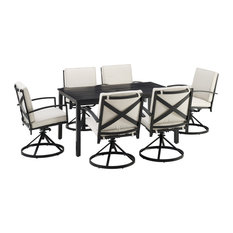 Kaplan 7-Piece Outdoor Dining Set, Oatmeal/Oil Rubbed Bronze