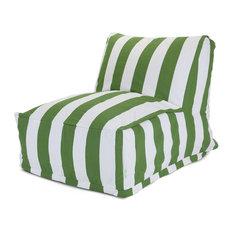 """Outdoor Vertical Stripe Bean Bag Chair Lounger, Sage, 27"""" L X 36"""" W X 24"""" H"""
