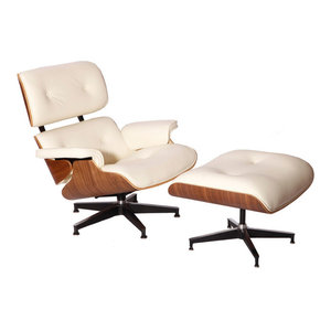 Lounge Chair and Ottoman, Aniline Leather, 2-Piece Set