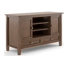 Warm Shaker Solid Wood TV Media Stand Rustic Natural Aged Brown