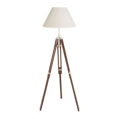 Old Hollywood Style Tripod Floor Lamp, Teak in Walnut With Chrome Accents