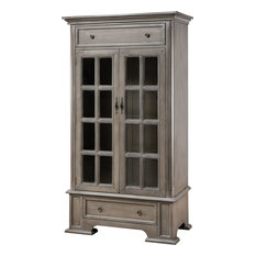 Hartford 2-DRAWER 2-DOOR Cabinet with 3 Inner Shelves, Hand-Painted Brown Gray