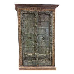 Mogul Interior - Consigned Antique Almirah Green Old Door Rustic Spanish Welcome Wardrobe cabinet - Armoires And Wardrobes