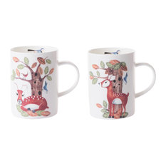 Roy Kirkham RSPB Natures Way Woodland Deer Mugs, 2-Piece Set