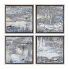 Set of 4 Gray Abstract Landscape Paintings, Wall Art Square White Modern