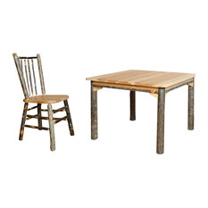 Rustic 42-inch Square Hickory Traditional Dining Table With 4 Side Chairs