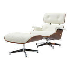 Pasargad Florence Leather Lounge Chair, White