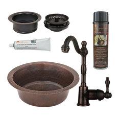 "14"" Copper Bar Sink, Faucet, 3.5"" Drain, Accessories"