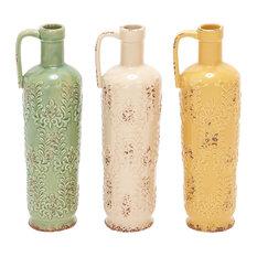 "Set of 3 Multi Colored Stoneware Vintage Vase, 14"" x 5"""