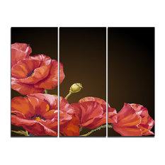 """Poppy Flowers Vector Art"" Canvas Artwork, 3 Panels, 36""x28"""
