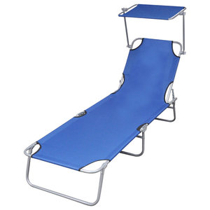 Outdoor Foldable Sunbed With Canopy, Blue, 189x58x27 cm