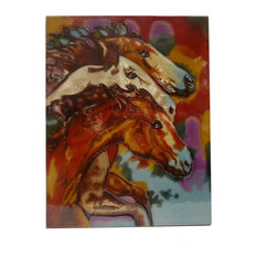Chinese Porcelain 3 Horse Heads Wall Hanging Art