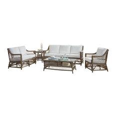 Panama Jack Sunroom - Panama Jack Seaside 5-Piece Living Set, Bahamian Bree Surf - Living Room Furniture Sets