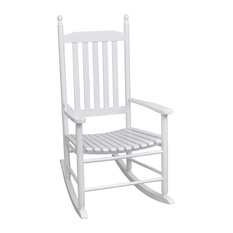 vidaXL Rocking Chair with Curved White Wood Patio Garden Seat Armchair Lounger
