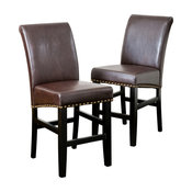GDF Studio Clifton Leather Counter Stools, Brown, Set of 2