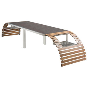 Mensa Contemporary Garden Dining Table, Zebra and Oxide Ceramic