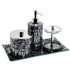 Mosaic Glass Bathroom Set, Black